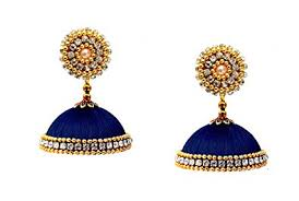 jhumka earrings buy youth blue silk thread jhumka earrings for women online