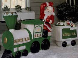 Outdoor Christmas Decorations Lighted Train by Plastic Light Up Santa On Train And Tender Car By General Foam