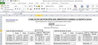 isr 2016 asalariados excel nuevas tablas de retención del impuesto sobre la renta 2016 el