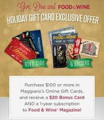 online gift card purchase maggiano s gift card offer purchase 100 in gift cards