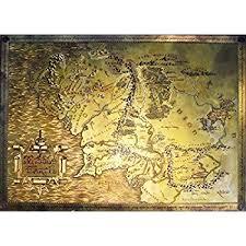 map of the lord of the rings the lord of the rings vintage look parchment print
