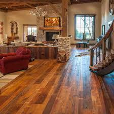 reclaimed barn wood floors rustic living room los angeles