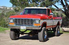 73 79 ford truck vintage jacked lifted orange white two tone lifted truck ford