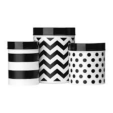 stylish domino set of 3 canisters black white canisters set decal