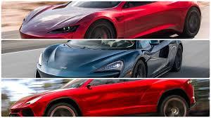 lamborghini urus blue tesla roadster vs lamborghini urus vs mclaren 570gt