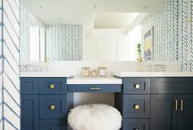 Blue Vanity Table Navy Washstand With Gold Knobs Transitional Bathroom