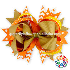 thanksgiving hair bows custom baby girl hair handmade kids cheer bows