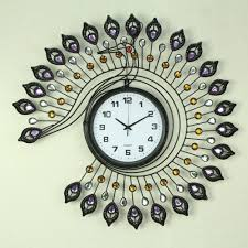 elegant unique wall clock decoration with peacock framed design