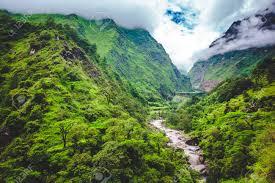 beautiful landscape in himalayas mountains annapurna area bright