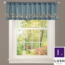 lush decor blue faux silk flower drop window valance by lush decor