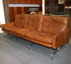 steel and cognac leather pk31 3 sofa by poul kjaerholm at 1stdibs