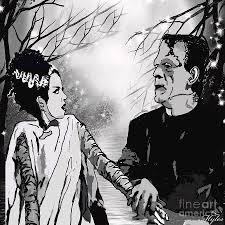 Frankenstein Shower Curtain by Frankenstein Painting By Saundra Myles