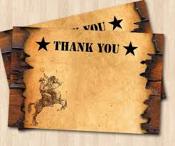 western thank you note cowboy theme thank you card boy or