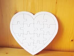 2 diy blank heart jigsaw puzzles wedding guest book kids crafts