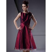short knee length taffeta bridesmaid dress burgundy plus sizes