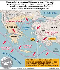 Greece On A Map by Earthquake Sparks Tsunami Off Greek Islands And Turkey Turkish