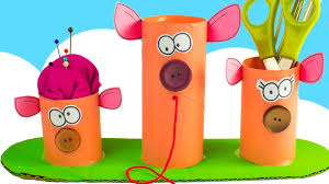 diy desk organizer with pigs toilet paper roll crafts for kids