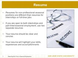 How To Write Resume For Part Time Job by Obtaining Part Time Or Seasonal Employment