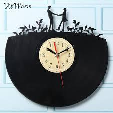 kiwarm fashion lover pattern vinyl record hanging clock figurines