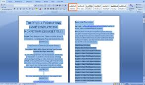Create Table Of Contents In Word 2013 How To Format Your Book For Amazon Kindle Using Microsoft Word In