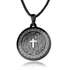 round pendants necklace images Cross round prayer black celtic cross symbol medallion necklace jpg