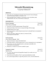 Resume Text 30 Basic Resume Templates