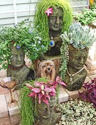 bright design stone head planters charming ideas how to make
