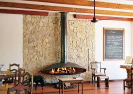 wood burning fireplace contemporary open hearth hanging