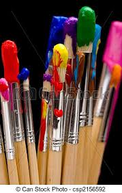 stock photo of paint brushes on black a group of multi color