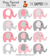 pink and grey elephant baby shower pink and grey elephant clip instant baby girl