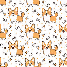 corgi wrapping paper pattern with dog breed corgi on a white background