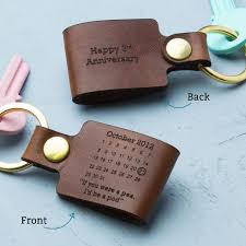 3rd anniversary gift ideas for him personalised third wedding anniversary leather keyring wedding