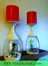 diy wine glass candle holders holidays presents pinterest