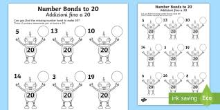 number bonds to 20 on robots activity sheet english italian