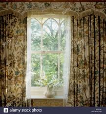 Patterned Window Curtains Window Of Cottage With Patterned Curtains And Pelmet