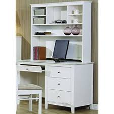 amazon com selena white computer desk with hutch by coaster