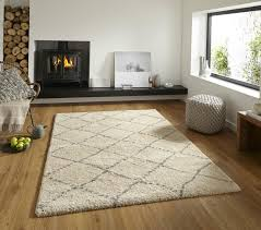 Diamond Home Decor by Royal Nomadic Two Tone Diamond Design Rug Soft Shaggy Pile Home
