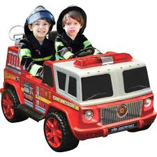 tonka fire truck kidmotorz two seater fire engine 12v ride on battery powered