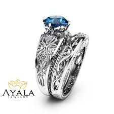 blue topaz engagement rings london blue topaz engagement ring set unique 14k white gold bridal