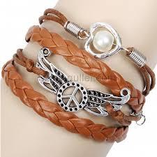 girls bracelet images Woven leather heart friendship bracelet for girls or guys jpg