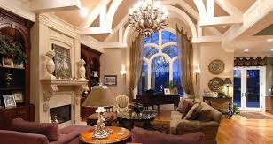 living room european interior design with chandelier and exposed