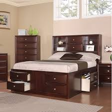 Bookcase Beds With Storage Design A Queen Storage Bed With Bookcase Headboard Best Home