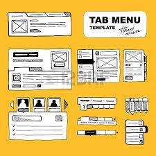 wireframe ui kit web design portfolio sketch elements isolate