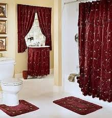 Matching Bathroom Shower And Window Curtains Ruffled Double Swag Fabric Shower Curtain And Window Curtain Set