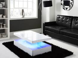 White Gloss Living Room Furniture Uk White High Gloss Rectangular Coffee Table With Led