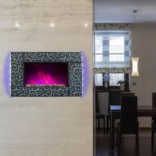 akdy 36 in wall mount electric fireplace heater in green tempered