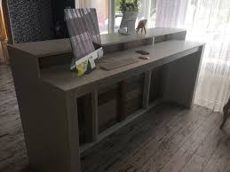 Industrial Reception Desk by The Anthem 8 U0027 Industrial Rustic Pallet Wall Look Two Level
