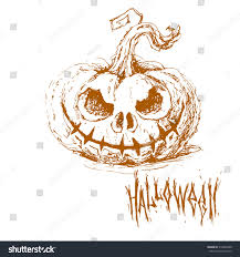 background halloween art hand drawn sketch halloween pumpkin terrible stock vector