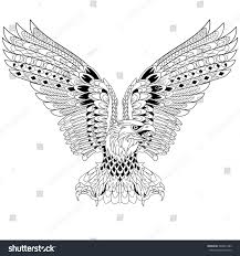 zentangle stylized cartoon eagle isolated on stock vector