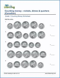 grade 1 math worksheet counting money nickels dimes and